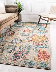 Unique Loom Positano Collection Coastal Modern Turtles Beige Area Rug x - Beach House Rugs, Living Room Rug, Colorful Bedroom Rug Modern Area Rugs, Beige Area Rugs, Positano, Amalfi, Nautical Rugs, Nautical Interior, Shed Colours, Buy Rugs, Home Rugs