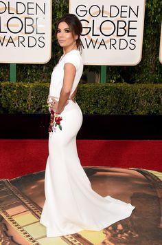 Eva Longoria Stuns in Bridal White at the Golden Globe Awards