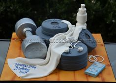 This is an awesome one for my husband, who is a huge gym rat. Unique Cakes, Creative Cakes, Cupcakes, Cupcake Cookies, Body Builder Cake, Fitness Cake, Gym Cake, Sport Cakes, Cakes For Women