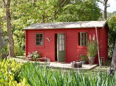 Abri de jardin rouge chalet bois leroy merlin