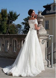 Buy discount Elegant Tulle Off-the-shoulder Neckline A-line Wedding Dress With Lace Appliques & Beadings at Dressilyme.com