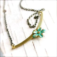 Turquoise Verdigris Patina Riveted Brass Flower by balanced, $34.00