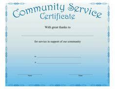 Community Service Certificate Template Regarding This Certificate Entitles The Bearer Certificate Templates Blank Certificate Template Community Service Hours