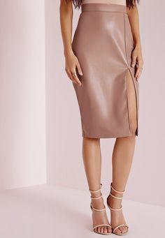 Missguided - Faux Leather Side Split Midi Skirt Nude