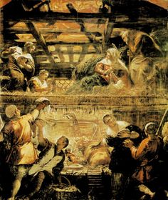Tintoretto, Scuola grande di San Rocco. Tintoretto spent 25 years covering the walls an ceilings of the Scuola with paintings of the life of the virgin , and the life of Christ. This remarkable double level Manger scene is one.