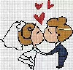Resultado de imagem para casal de noivos em ponto cruz