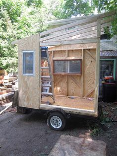 A Transforming Micro-house/Camper on Wheels Tiny House Blog, Tiny House Cabin, Tiny House Living, Tiny House Plans, Tiny House On Wheels, Tiny House Design, Tiny Houses, Diy Camper Trailer, Build A Camper
