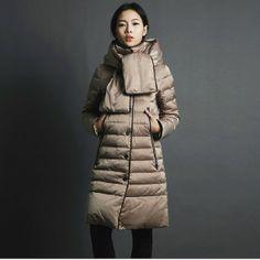 Long Women Winter Down Coat Thick Removeble Hat Goose Down Coat