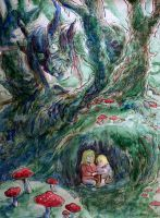 Shhh..he'll hear you! by cows-love-clover Children of Asgard, hiding in the woods from a troll. Watercolor, pen and ink.