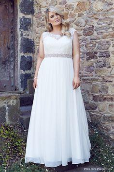 plus size perfection bridal 2016 cap sleeves thick straps sweetheart illusion jewel a line lace bodice wedding dress (lee) mv romantic elegant