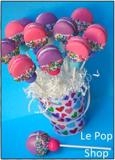 "Macarons ( could use other cookies) with gum balls yummmmm!!  please ""like"" us on Facebook https://www.facebook.com/LePopShop"