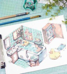 art illustration by [ ] Watercolor Drawing, Watercolor Illustration, Watercolor Paintings, Painting Collage, Moe Anime, Manga Anime, Anime Art, Sketchbook Inspiration, Art Sketchbook
