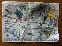 Kleurplaat van Dylan van 2,5 jaar en papa via @faukje ingekleurd met bijenwaskrijtjes!