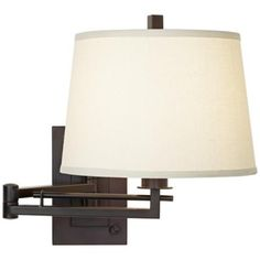 """$60 Matte Bronze Plug-In Swing Arm Wall Light 