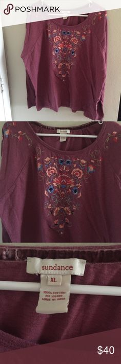SUNDANCE XL Embroidered Floral Cotton Blouse SUNDANCE XL Embroidered Floral Cotton Blouse  Size:  XL  Materials: 100% Cotton  Measurements: Chest: 23in Waist: 24in Length: 24in Sundance Tops Blouses