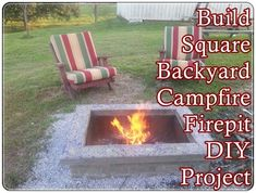 How to Build Square Backyard Campfire Fire Pit DIY Project is detailed in this step by step tutorial that is simple to build, safely encloses fire and Fire Pit Ring, Diy Fire Pit, Fire Pit Backyard, Fire Pit Gallery, Fire Pit Landscaping, Portable House, Homestead Survival, Survival Tips, Outside Living