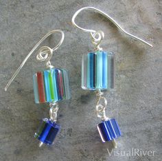 Blues Cane Glass Dangle Earrings by visualriver on Etsy, $14.99