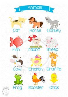 Animales en inglés-Imagenes y dibujos para imprimir