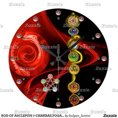ROD OF ASCLEPIUS 7 CHAKRAS,YOGA ,SPIRITUAL ENERGY LARGE CLOCK #yoga #chakra #medical #medicine #art #decor #3d #reiki