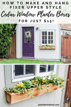 Easy 15 Fixer Upper Style DIY Cedar Window Boxes How to build a DIY window box for flowers and ideas for what to plant in a full sun or shade box Learn how to make a low. Cedar Window Boxes, Cedar Planter Box, Window Box Diy, Window Ideas, Fixer Upper Style, Rustic Outdoor Decor, Window Planter Boxes, Diy Porch, Porch Ideas