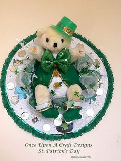 St. Patrick's Day Wreath by OnceUponcraftdesigns on Etsy