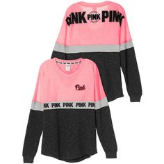 V-Neck Varsity Crew PINK ($50) ❤ liked on Polyvore featuring pink half zip sweatshirt, half zip sweatshirt, pink half zip hoodie, half zip hoodie and crew neck sweatshirts