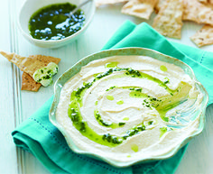 Whipped Feta Dip with Mint Pesto and Apetina® Crumbled Feta Cheese #dip #appetizer