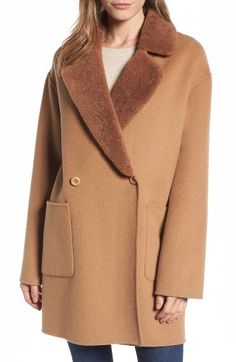 943d52fe04bff Free shipping and returns on Trina Turk Dawn Genuine Shearling Collar  Double Face Coat (Regular