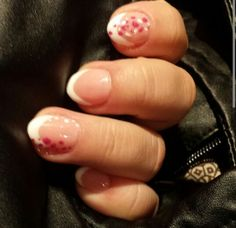 French nails with pink and white dots