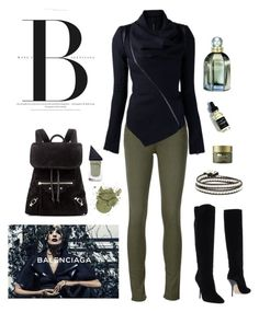 """Balenciaga Green & Black"" by boho-betty-usa ❤ liked on Polyvore featuring Jimmy Choo, rag & bone/JEAN, Balenciaga, GUiSHEM, Origins and lovebohobetty"
