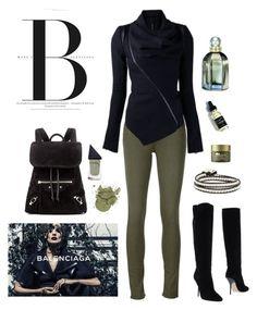 """Balenciaga Green & Black"" by boho-betty-usa ❤ liked on Polyvore featuring Jimmy Choo, rag & bone/JEAN, Balenciaga, GUiSHEM, Origins and lovebohobetty"