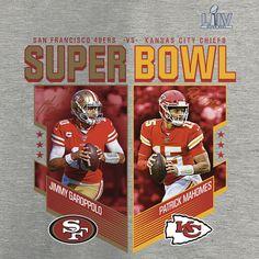 Men's San Francisco 49ers vs. Kansas City Chiefs NFL Pro Line by Fanatics Branded Heather Gray Super Bowl LIV Dueling Free Kick Name & Number T-Shirt Kansas Chiefs, Chiefs Super Bowl, 49ers Vs, Free Kick, Weekend Fun, San Francisco 49ers, Heather Grey, Kicks, Nfl Pro