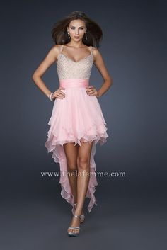 Pink La Fermme 17732 High and Low V-neck Beaded Top Homecoming Dresses