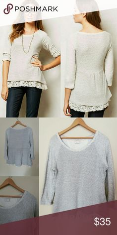 Anthropologie Postmark Hattie Sweatshirt Lining under sweater has lace at the bottom and silver woven into shirt. GUC. Easy to pull on and over other clothes. Great for the first cool day of fall!!  ¤Arms are 100% cotton ¤Lining is 100% Rayon ¤Body is 85% Polyester / 10% Spandex / 5% Lurex ¤Length: 25 inches ¤pit to pit: 19 inches ¤cross posted Anthropologie Sweaters