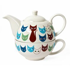 Cat Mask Tea For One Set Blue @Pascale Lemay Lemay Lemay De Groof