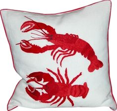 Hand Embroidered Lobster Pillow / SKU 193-2006