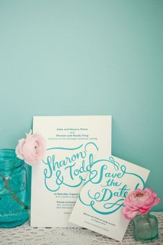 Mason jar inspired save the date by Berin Made (UK)
