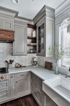 Home Remodel On A Budget Grey Kitchen Design - Home Bunch Interior Design Ideas.Home Remodel On A Budget Grey Kitchen Design - Home Bunch Interior Design Ideas Kitchen Decor, Kitchen Inspirations, Kitchen Cabinet Design, New Kitchen, Farmhouse Kitchen Cabinets, Small Kitchen, Grey Kitchen Designs, Home Kitchens, Kitchen Dining Room