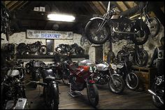 Just a room.....with motorcycles everywhere.....including hanging from the ceiling.