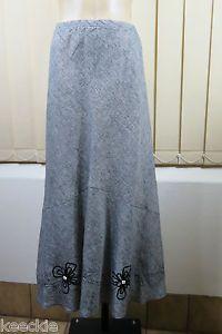Size M 12 Gordon Smith Ladies Linen Skirt Boho Chic Grey Business Feminine Style | eBay
