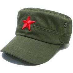 COOLSOME Vintage Fatigue Red Star Mao Army Military Hat ($9.99) ❤ liked on Polyvore featuring accessories, hats, vintage hats, military hats, red hat, military caps hats and army hat