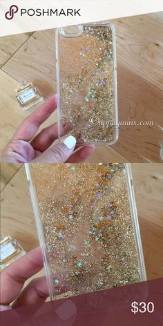 Gold Liquid Glitter iPhone 6, 6+ Case So pretty!! Liquid gold glitter with floating stars. Fits 6/6plus. No trades. Indicate the size you want when you purchase. Uppity Minx Accessories Phone Cases