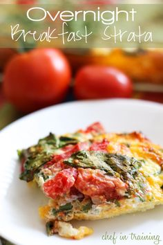 Overnight Breakfast Strata  Ingredients  Print This Recipe Print This Recipe        8-9 slices white bread, buttered on one side      12 eggs      1 quart half and half      1/2 tsp. onion powder      1/2 tsp. salt      1/3 tsp. black pepper      12 oz medium or sharp cheddar cheese      4-5 medium tomatoes chopped and/or diced      4-5 cups baby spinach leaves chop up if desired