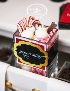 Santa Themed Hot Chocolate Bar. www.premierwed.com Premier W.E.D. 2014 Holiday Happy Hour!