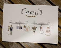 Wedding stationary by Rebecca McMillan Illustration. Wedding schedule.