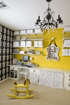 Den / Home office. - eclectic - home office - other metro - Michelle Hinckley (Turn and old, Victorian mirror into a peg/pin board! Yellow Home Offices, Yellow Office, Yellow Accent Walls, Office Organization At Work, Office Ideas, Studio Organization, Office Storage, Craft Room Design, Craft Space