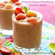 Papaya Strawberry Avocado Shake Recipe: Healthy Vegan Milkshake on FamilyFreshCooking.com ©Marla Meridith #summer #fruit #drink #diet #paleo #food