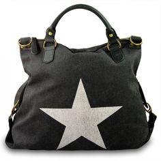 mynewbag.de - #IO.IO.MIO. Ital. Damentasche Leder Canvas Mix großer #Shopper #Stern schwarz weiß