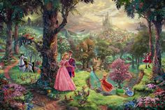 Thomas Kinkade - Disney Ill be honest.as an art history major I can't stand Thomas kinkade but these Disney paintings are my only exceptions! Cuz I love disney so much! Art Disney, Film Disney, Disney Kunst, Disney Love, Disney Magic, Disney Pixar, Disney Canvas, Aurora Disney, Disney Monsters