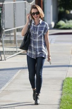 Casual chic: Lily Collins went for a low-key look as she stepped out in West Hollywood on ...